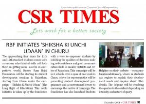 CSR Times- Churu- Dec'14